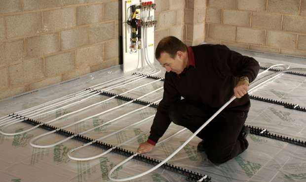 Underfloor heating, connected to the wood burning cooking stove is great for winter heating.