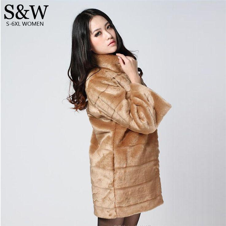 Мандарин воротник лисий мех кролика шуба для женщин зима искусственного меха пальто женщин средней длины верхняя одежда женская куртка