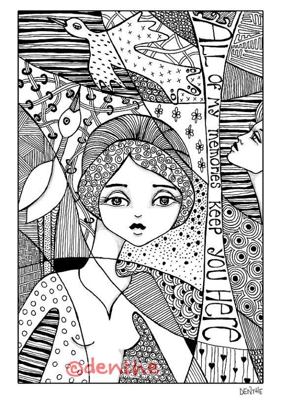 Coloring Page Instant PDF Download Zentangle Doodle Drawings With Quote By Denthe