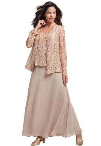 36 best Vestidos para fiestas images on Pinterest   Formal prom     Roamans Women s Plus Size Lace And Chiffon Jacket Dress  Sparkling  Champagne 28 W