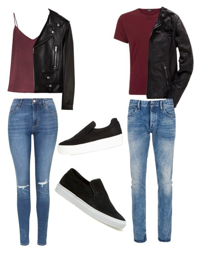 """/His and Hers/"" by rosesojot on Polyvore featuring Raey, Yves Saint Laurent, Topshop, A.P.C., Superdry, Denham, Lacoste and River Island"