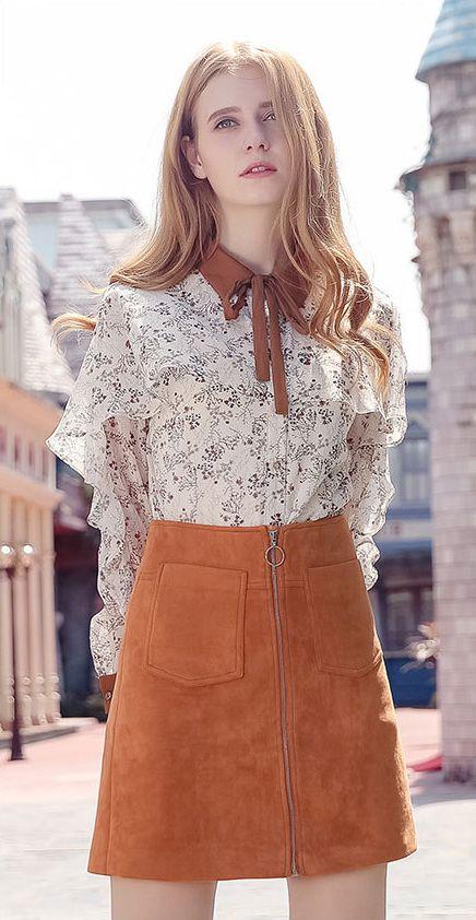 High waist Solid Suede Fabric Skirt