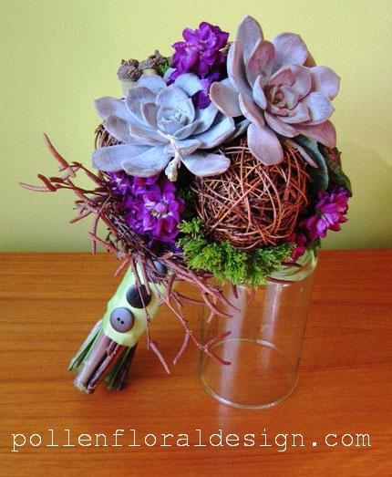 Love this purple succulent bouquet