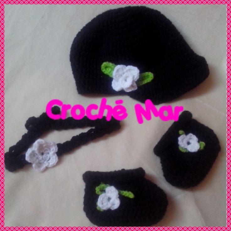 Conjunto para bebe de flor por Croche Mar