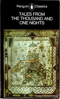 Dawood, N. J. Tales from the Thousand and One Nights. Harmondsworth, Eng.: Penguin, 1983. Print.  Mass market paperback. Pages age browned. Some black and white illustrations. 407 pages plus ads.