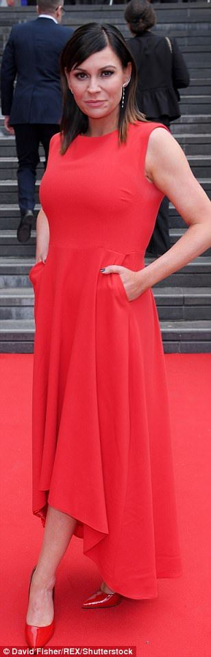 Bold and bright: Vanessa Kirby, Victoria Derbyshire and Lucy Pargeter (from left to right) sported jewel brights