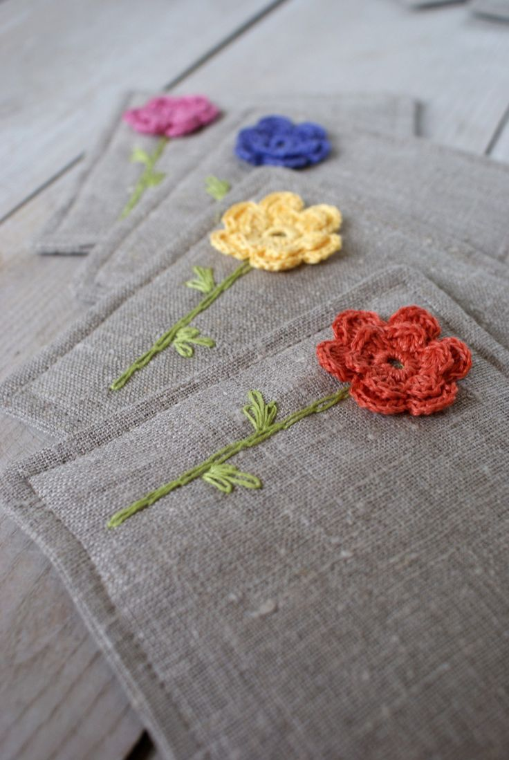 Coasters set made of linen,, crochet and embroidery