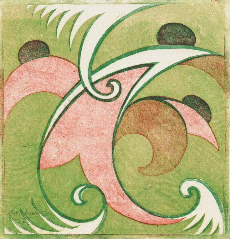 "Sybil Andrews (1898 - 1993) ""Bathers"" 1930 ~ linocut"
