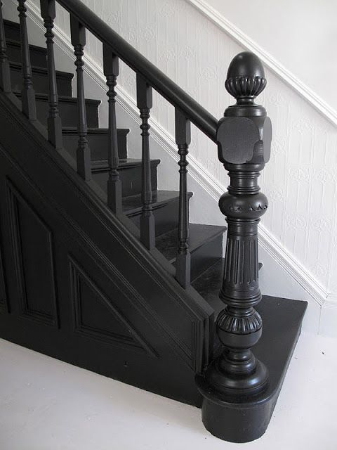 Black staircase - off black oil Farrow and Ball