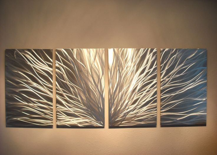 Metal Wall Art Decor Abstract Aluminum Contemporary Modern Sculpture Hanging Zen Textured- Radiance Silver by Miles Shay