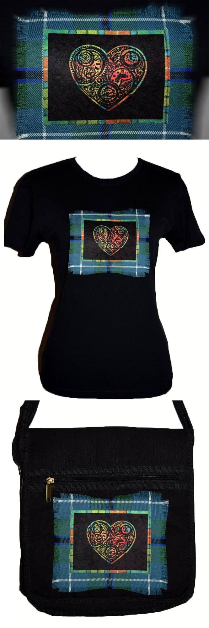 Steampunk heart custom made shirt and bag. Stunning sublimation prints onto luxurious velvet fabric and beautiful tartan. Hand made in Scotland by MoNkA. https://www.facebook.com/monka.rocks/