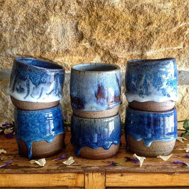 Ruth Fugar, Pottery Artist. Loving the drips from these glazing experiments! #australianceramics #cups #glaze #stoneware #wheelthrown #clay #ceramics #pottery #coffee #blue #handcrafted #kitchen #glenorie #sydney #house #home #kitchen #foodstyling #clayart #art
