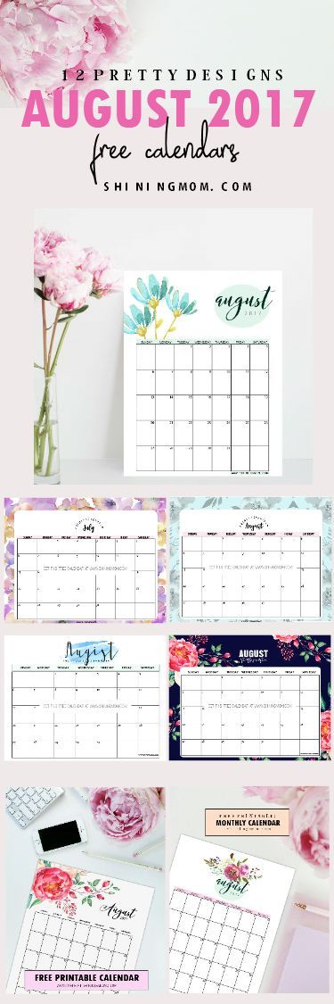 Print your free August 2017 calendar! There are 12 designs for you to choose from!