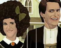 SNL's Kristin Wiig (as Gilly) and Andy Samberg / american Gothic / Illustration by Jocelyn R.