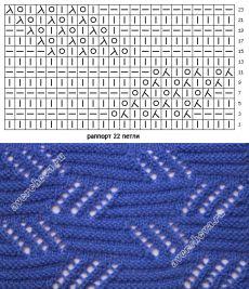 узор 249 ажурные зигзаги  каталог вязаных спицами узоров