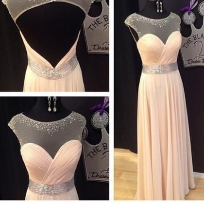 Prom Dresses 2017,Scoop Prom Gowns,Long Chiffon Prom Dresses,Coral Prom Dress
