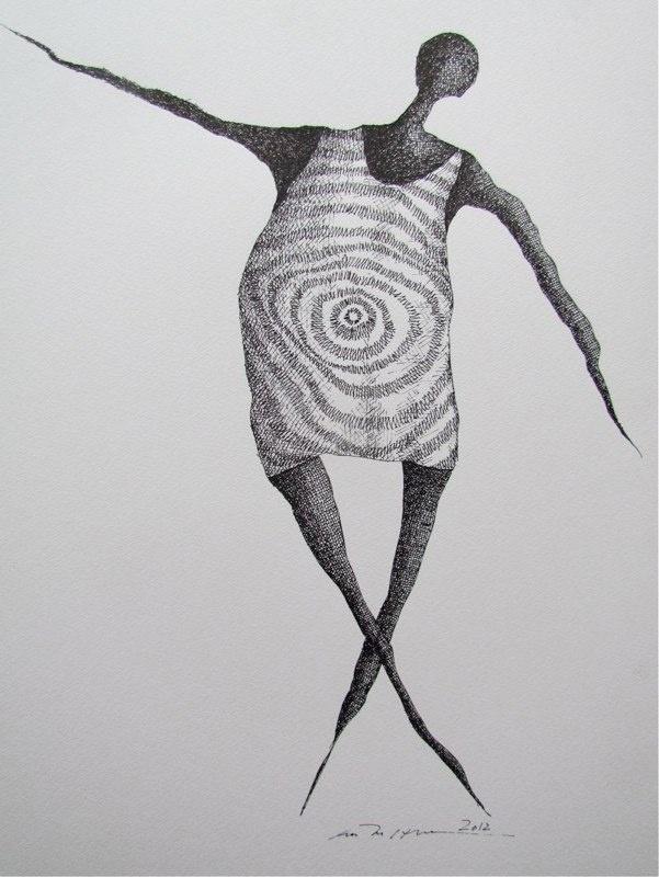 Åse Margrethe Hansen/Swing it! Ink drawing, 2012