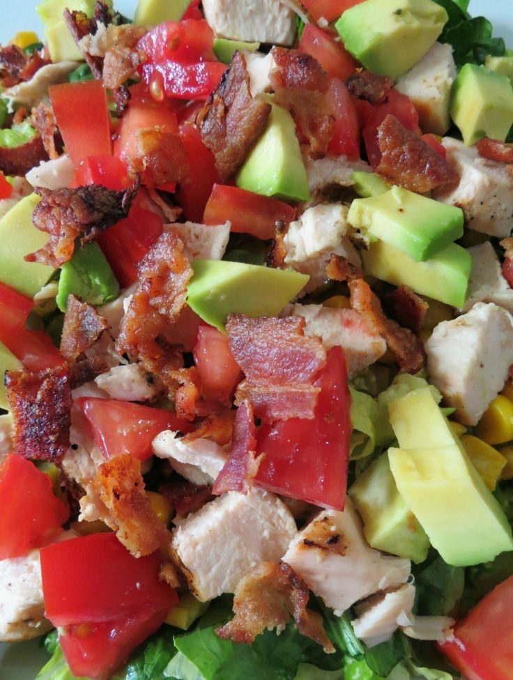123778689731990328 Chicken and Bacon Chopped Salad   A savory,filling, low carb salad made with season grilled chicken, avocado, corn, tomatoes and bacon.