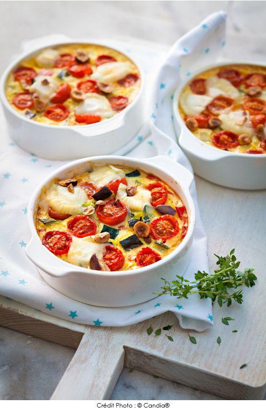 Ce soir, un régal ! Clafoutis de légumes rôtis, noisettes & crottin de Chavignol.  #recette #clafoutis #légumes #noisettes #fromage