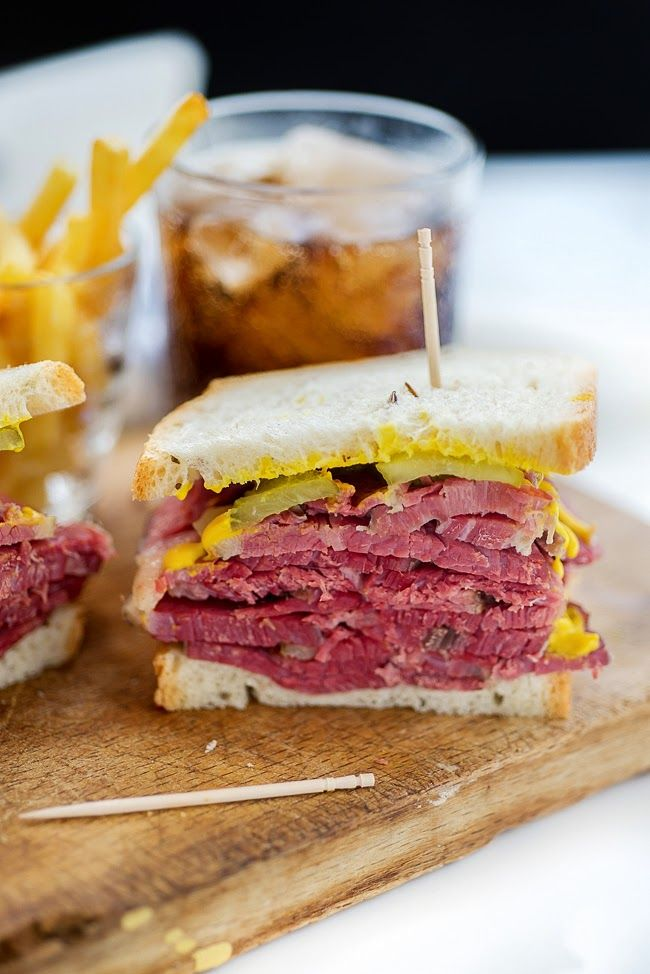 Sandwiches with homemade salt beef - recipe on Supergolden Bakes