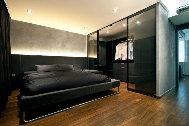 beleuchtung schlafzimmer schwarz begehbarer glas kleiderschrank