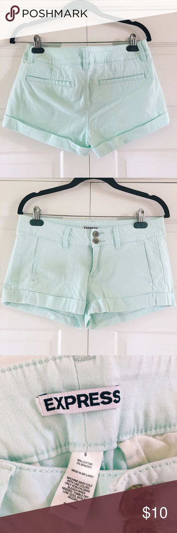 Express mint green shorts EXPRESS mint teen shorts size 6! barely used! Express Shorts