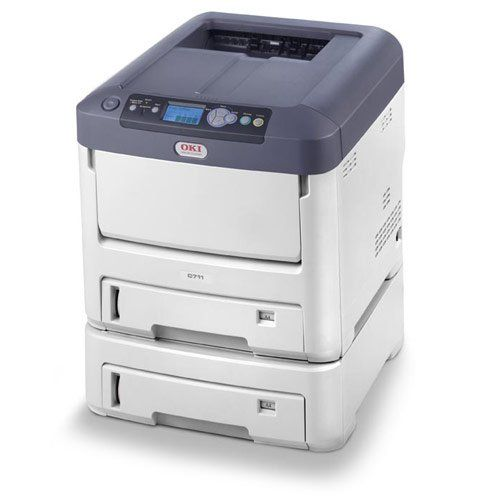 120V C711DTN Col Digital PRINTER(34/36PP. Okidata C711DTN Color Laser Printer with Network, Duplex and Extra Tray. Up to 36 ppm black, 34 color. 100 and (2) 530 sheet trays. 8.5 x 52 max paper size.