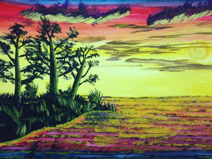 Water colour sunset