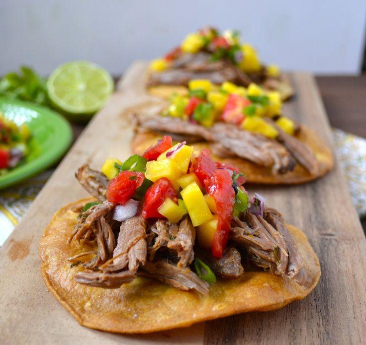 Slow Cooker Shredded Habanero Beef Tostadas with Mango Salsa www ...