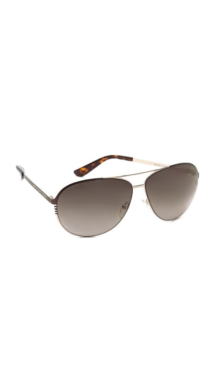 MARC BY MARC JACOBS Classic Aviator Sunglasses in Light Gold/Brown Gradient.