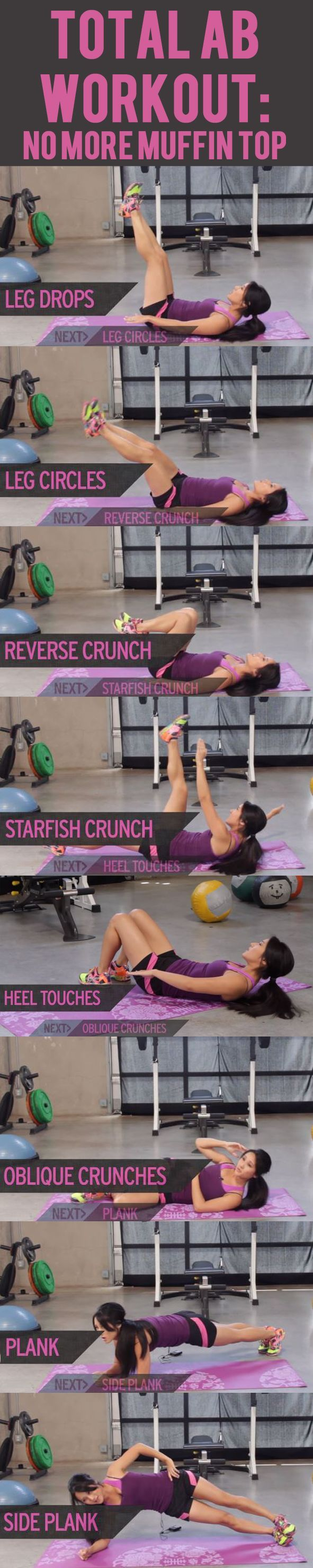 This workout will show you some of the best ab exercises for toning and slimming your waist and abs to banish that muffin top for good. #exercise #workout #abs #sixpack #fitness