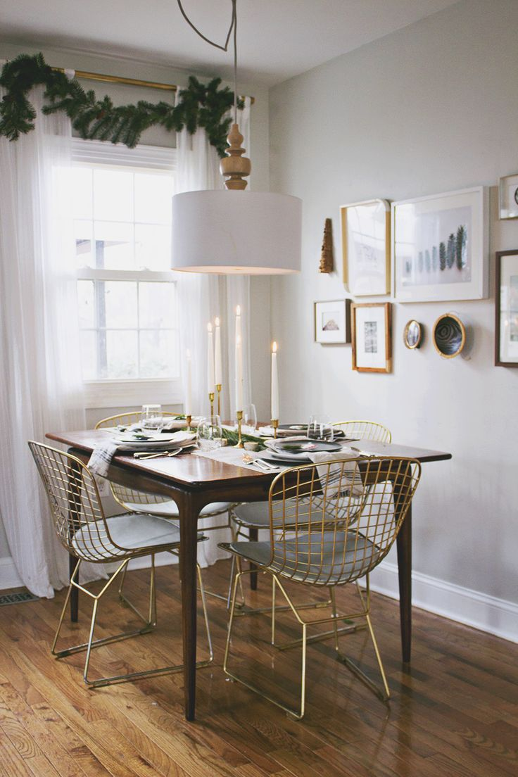 Bertoia chair dining room - A Very Scandinavian Christmas Holiday Home Tour Gold Bertoia Chairs