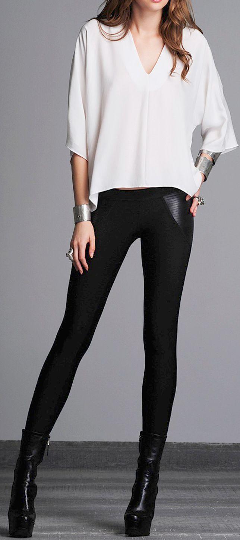 Leggings + simple blouse