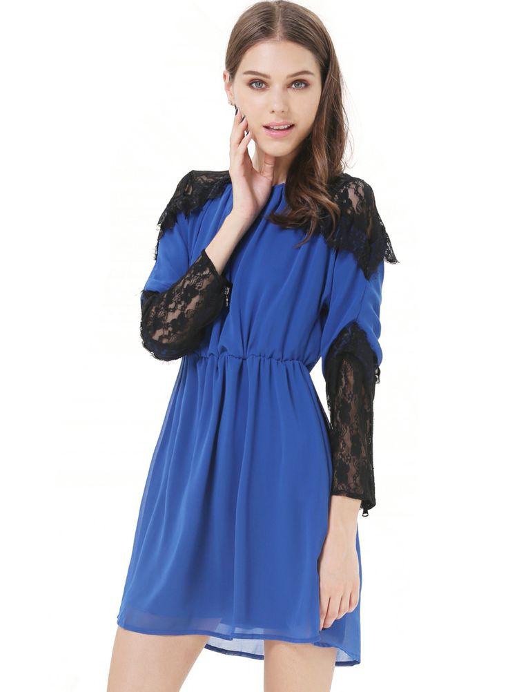 Синее контрастное кружевное платье  RUBp.1039