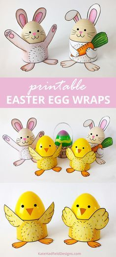 Easy printable Easter egg wrap craft for kids!   Make cute stands for decorated Easter eggs - just print, colour and assemble! Have the kids draw bunny and chick faces on their decorated eggs for a special extra touch!