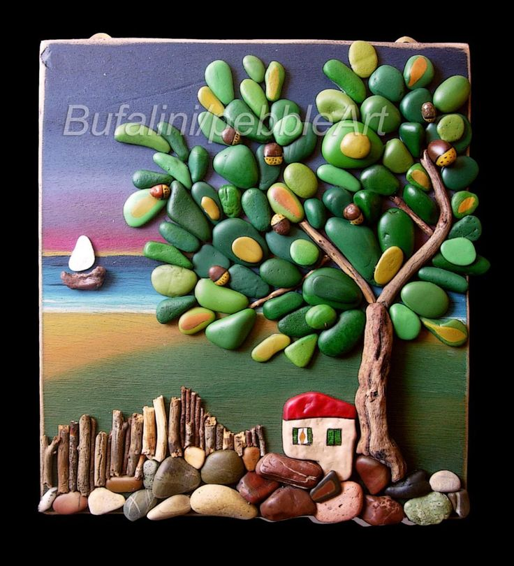Art with paint, pebbles and wood