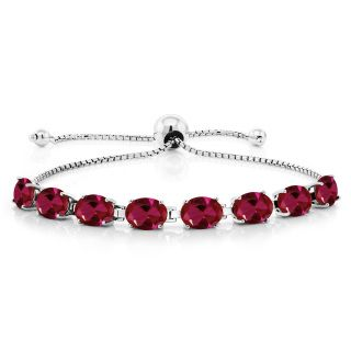 Beautiful created ruby bracelet in sterling silver Free Shipping