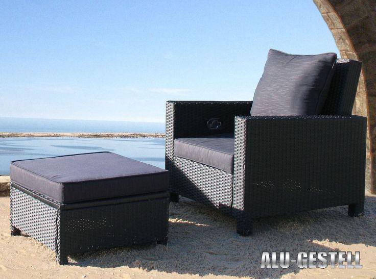 Rattan Set Schwarz Lounge Loungemobel Gartenmobel Rattanmobel Gartensessel Tisch Hocker Garten Terrasse Mobel Garnituren Sitzgruppen Artnr