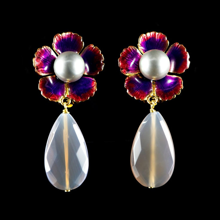 Details About Vintage Philippe Ferrandis Erfly Clear Rhinestones Large Ball Drop Earrings Pinterest And