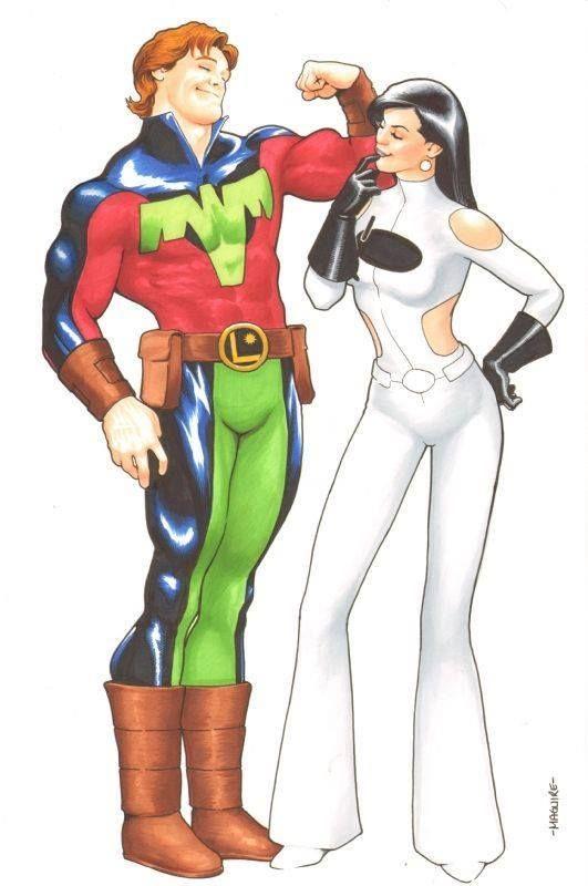Ultra Boy and Phantom Girl of the Legion of Super-Heroes by Kevin Maguire  #UltraBoy #JoNah #PhantomGirl #TinyaWazzo #LoSH #LegionofSuperHeroes #KevinMaguire