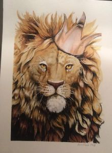 """9""""x12"""" Ink painting of lion wearing a copper crown on Arches watercolor paper.  