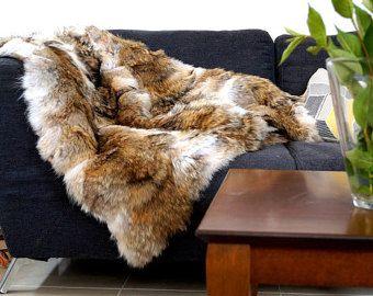 wolf real fur blanket throw