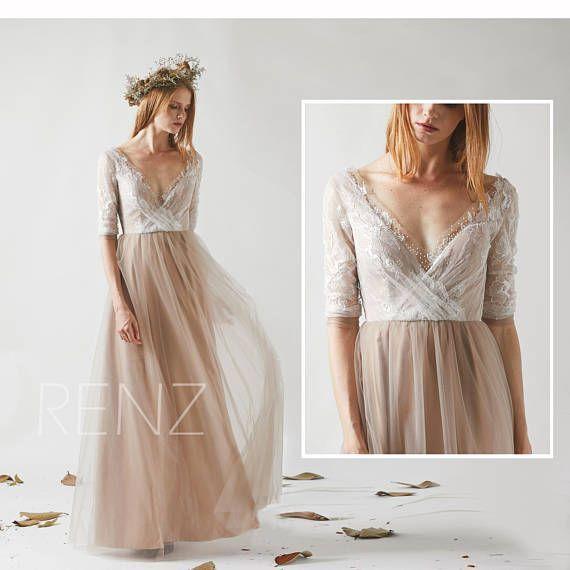 Bridesmaid Dress Pale Khaki Tulle Dress Wedding DressOff