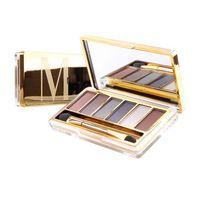 Marca nueva paleta de sombra de ojos maquillaje profesional 6 colores de sombra de ojos marcados con espejo y cepillo de sombra de ojos