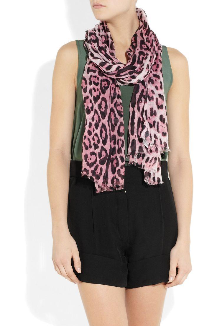 Dolce & Gabbana|Animal-print modal and cashmere-blend scarf|NET-A-PORTER.COM