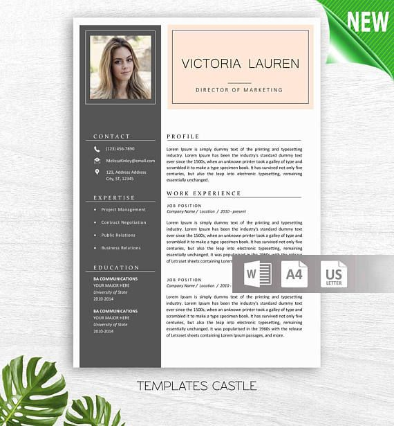 2 Page Modern Resume Template MS Word with Photo Cover Letter