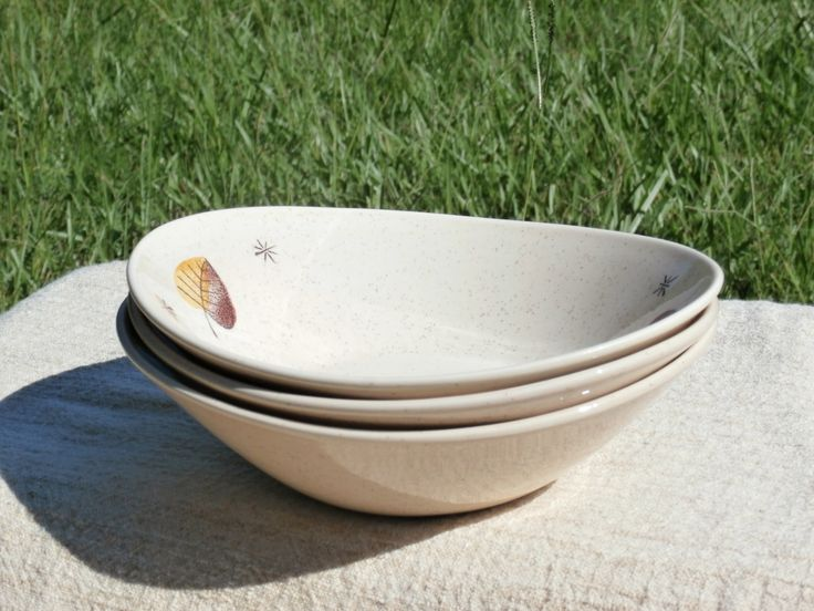 3 Soup Bowls Sherwood by Vernon Kilns Metox, Brown Leaf, Made in California