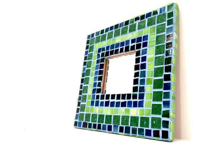 Blue Wall Mirror, Green Wall Mirror, Mosaic Mirror, Mosaic Wall Art, Tile Mirror, Wall Art, Wall Mirror, Home Decor, Sky Blue Grout 10x10 by SpukiKabuki on Etsy https://www.etsy.com/listing/499883126/blue-wall-mirror-green-wall-mirror