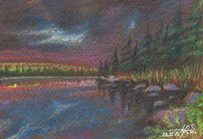 Sunset Lake by Lelixiana