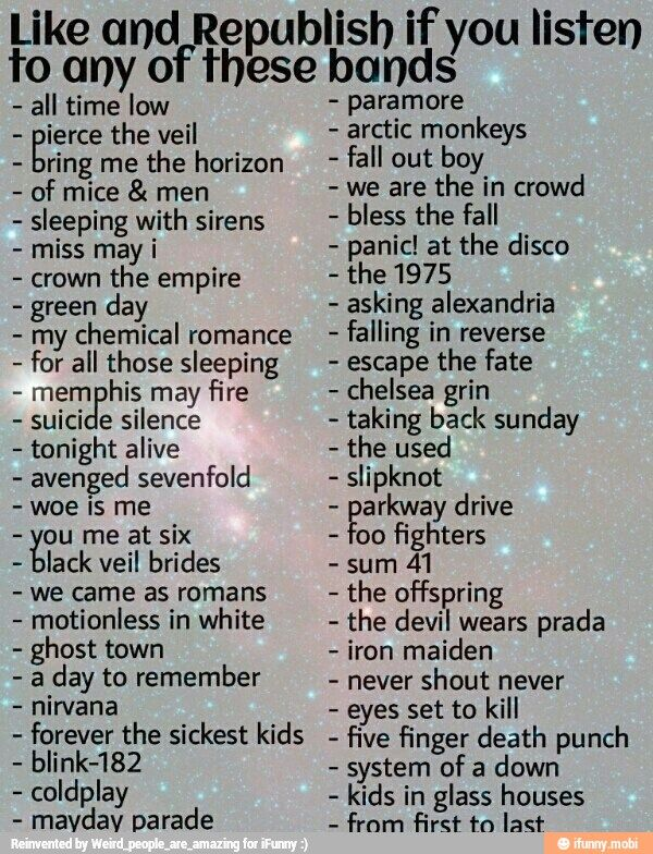 Avenged Sevenfold, Black Veil Brides, Green Day, Panic! At the Disco, My Chemical Romance